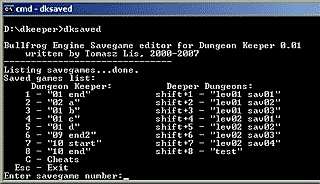 Savegame editor screenshot